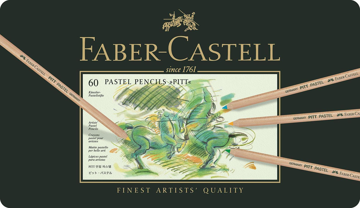 Пастельные карандаши PITT®, набор цветов, в металлической коробке, 60 шт.  #1