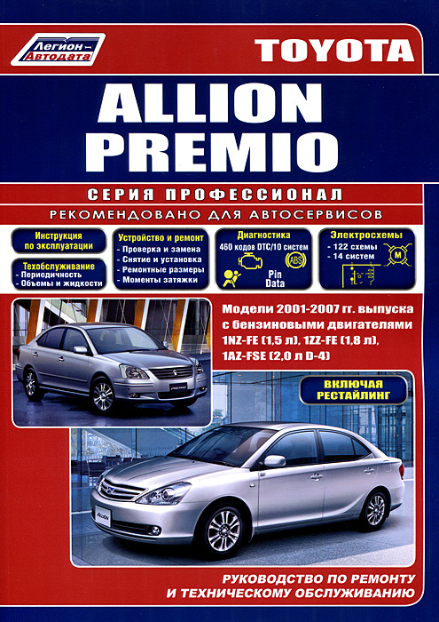Toyota Allion Premio. Модели 2001-2007 гг. выпуска с бензиновыми двигателями 1NZ-FE (1,5 л), 1ZZ-FE (1,8 #1
