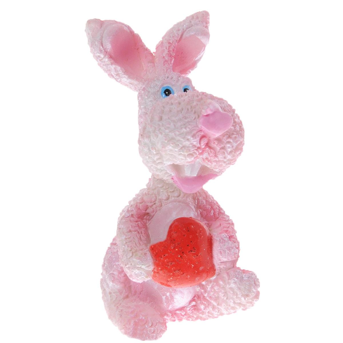 """Декоративная статуэтка Lunten Ranta """"Розовый кролик с сердцем"""", цвет: розовый, красный, высота 6 см  #1"""