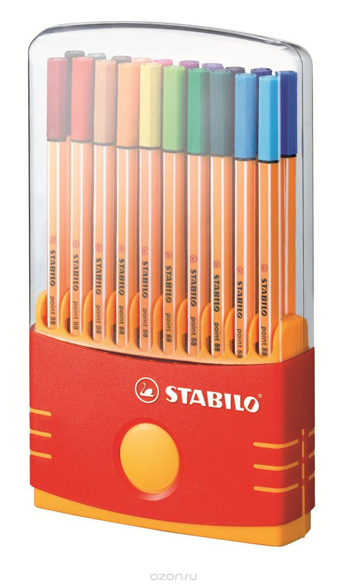 Набор капиллярных ручек линеров STABILO Point 88, 20 цветов, cъемный пластиковый футляр  #1