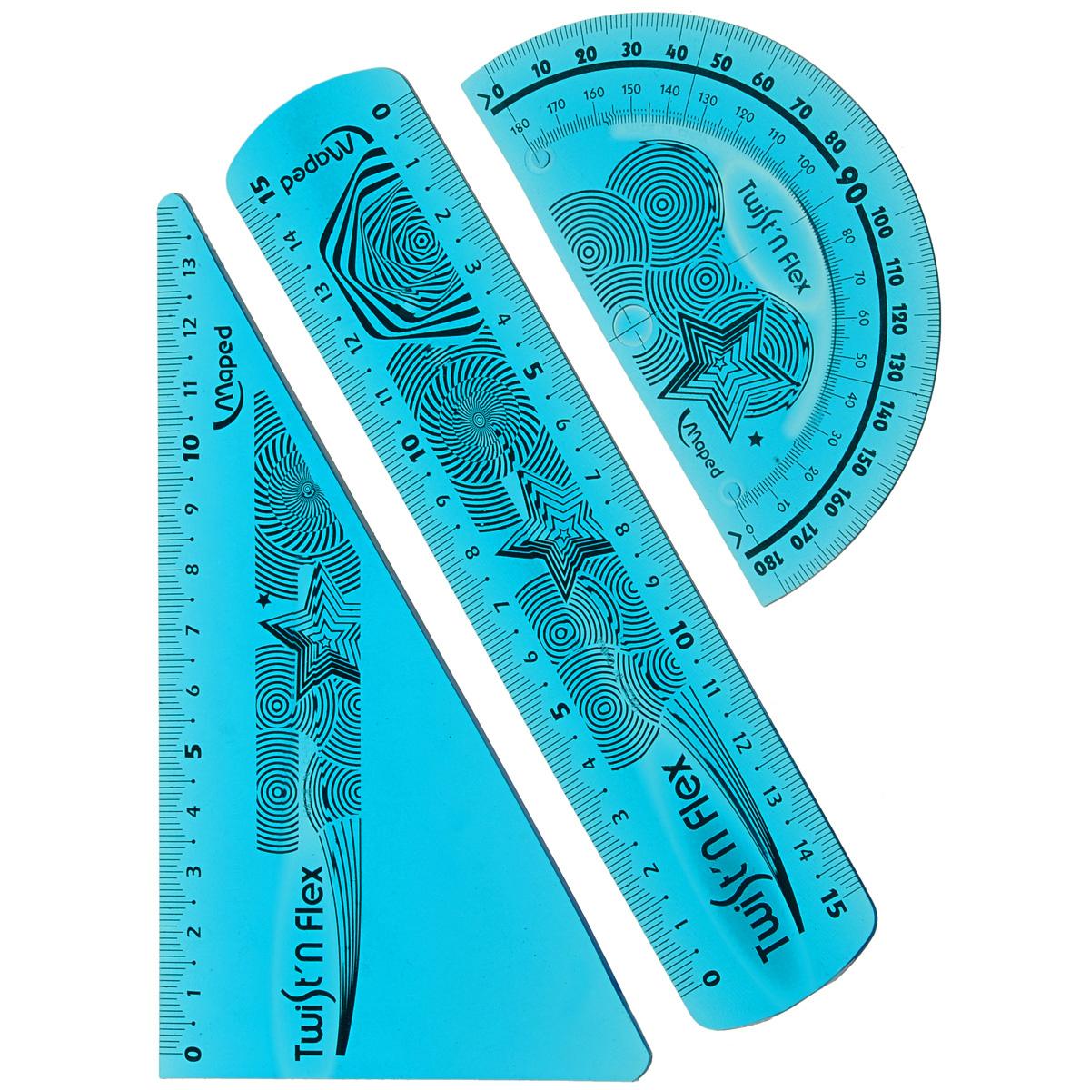 """Геометрический набор Maped """"Twist'n Flex"""", цвет: голубой, 3 предмета  #1"""