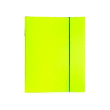 Тетрадь 120л А5ф на 4 х кольцах Пластиковая обложка на резинке DIAMOND НЕОН желтая  #1