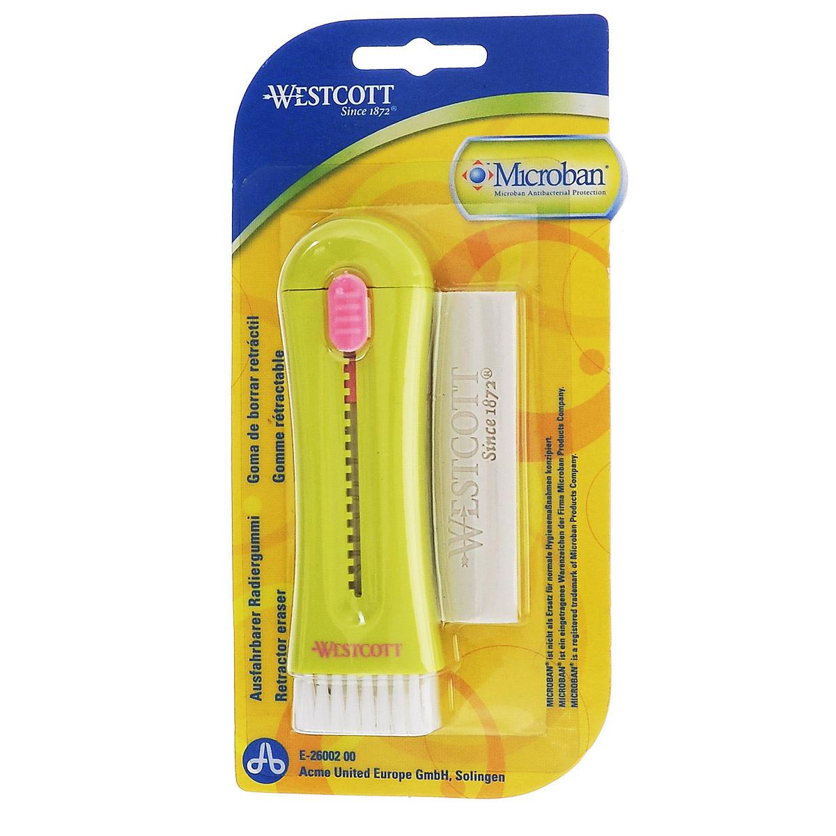 """Ластик с кисточкой """"Westcott"""", с антибактериальным покрытием, цвет: желтый  #1"""