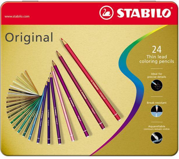 Карандаши цветные STABILO Original, с тонким грифелем, художественные, 24 цвета, в металлическом футляре #1