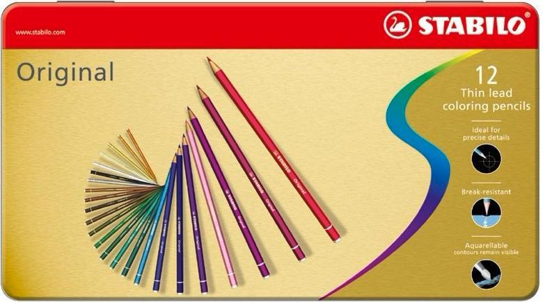 Карандаши цветные STABILO Original, с тонким грифелем, художественные, 12 цветов, в металлическом футляре #1
