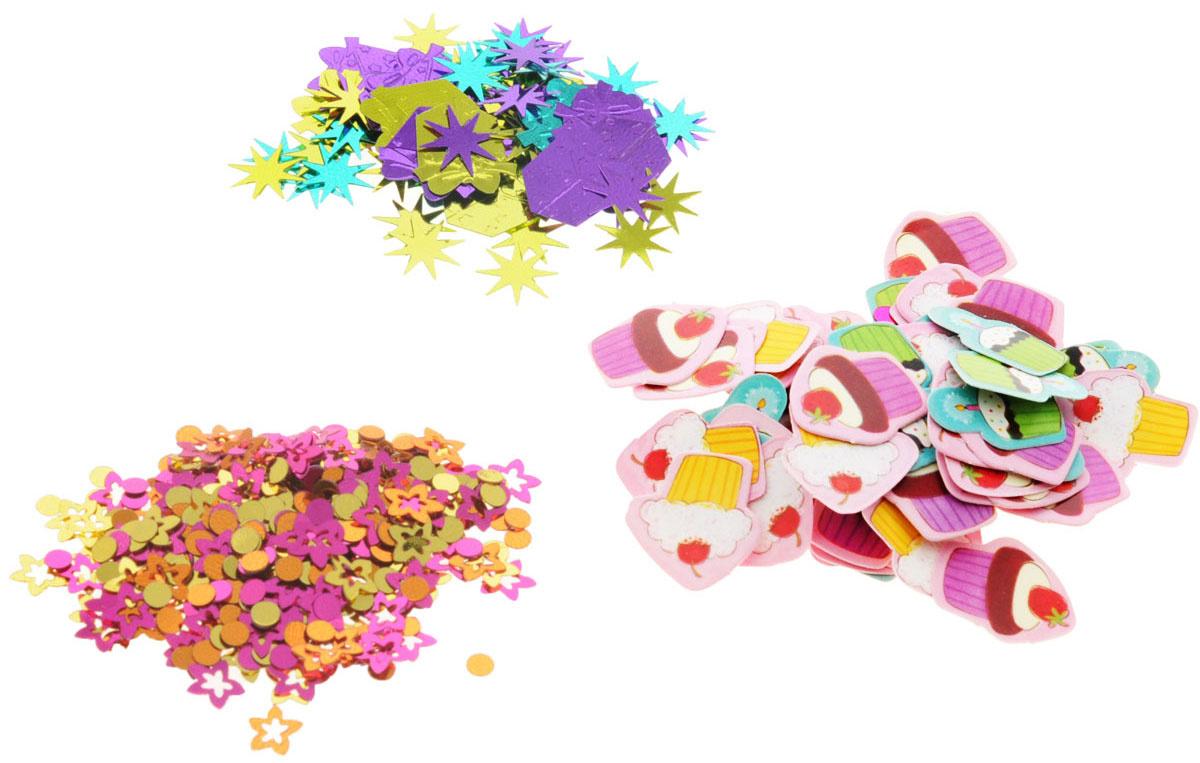 Конфетти Полимер, Бумага, розовый, фиолетовый Весёлая затея  #1