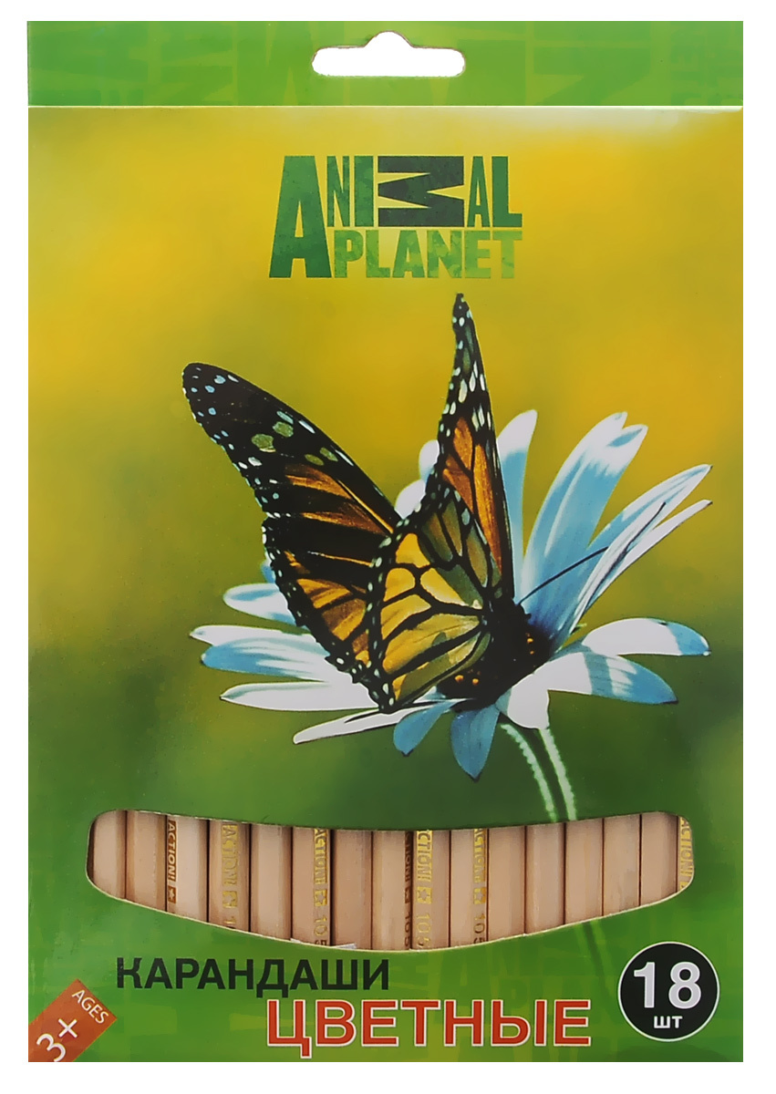 """Action! Набор цветных карандашей """"Animal Planet"""", 18 цветов #1"""