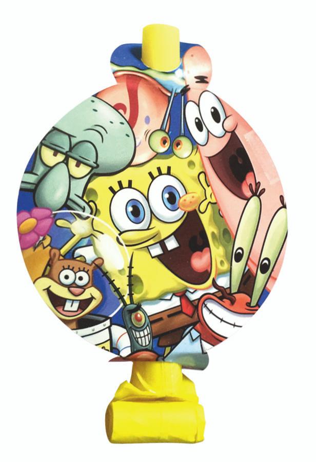 Веселая затея Язык-гудок с карточкой Губка Боб 8 шт #1