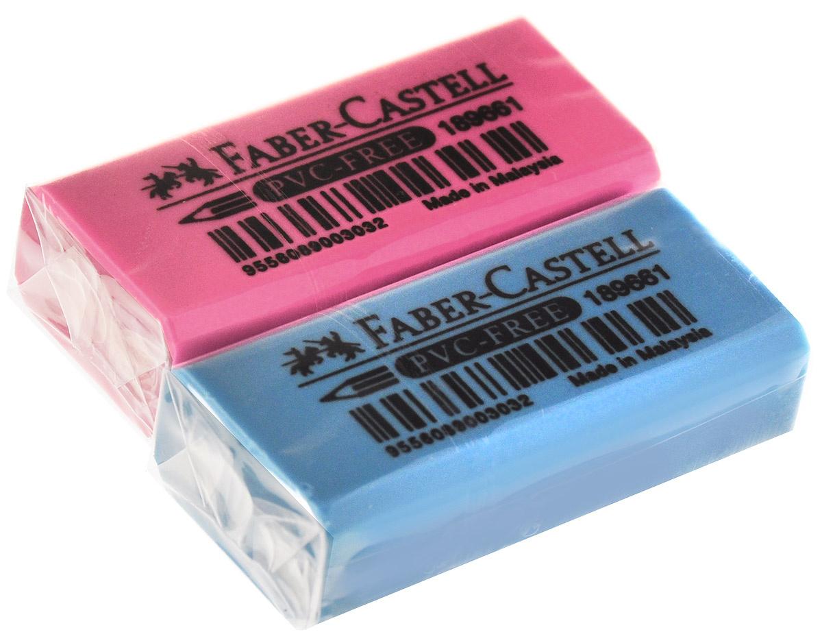 Faber-Castell Ластик флуоресцентный цвет розовый голубой 2 шт  #1
