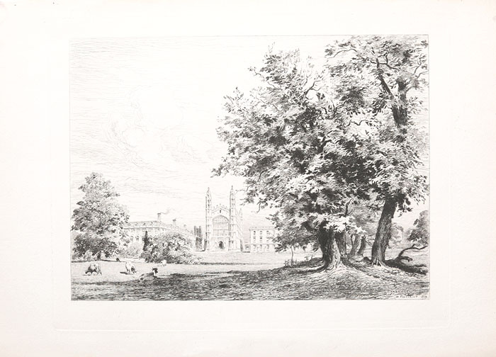 """""""Кембридж"""". Офорт. Великобритания,  1879 год #1"""