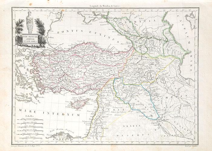 Географическая карта Малой Азии, Армении, Кавказа, Сирии и др. Гравюра. Франция, начало XIX века  #1