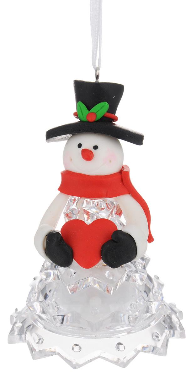 """Новогодняя декоративная фигурка Kosmos """"Снеговик в черной шляпе"""", с подсветкой, высота 10 см  #1"""