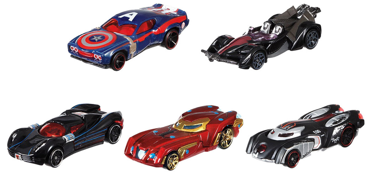 Hot Wheels Avengers Набор машинок Капитан Америка Гражданская война 5 шт  #1