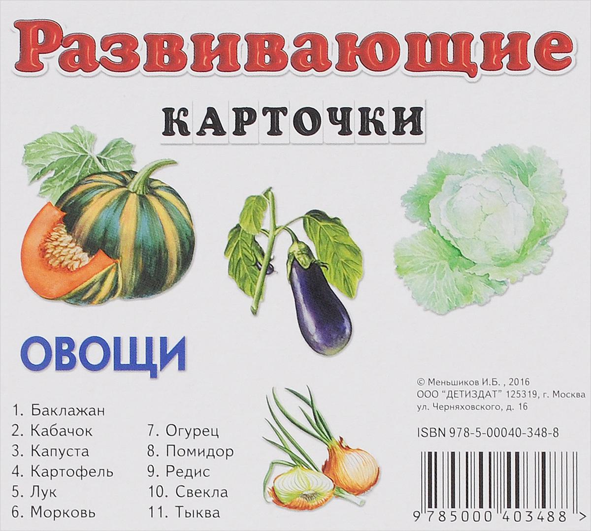 Овощи. Развивающие карточки (набор из 11 карточек)   Меньшиков И. Б.  #1