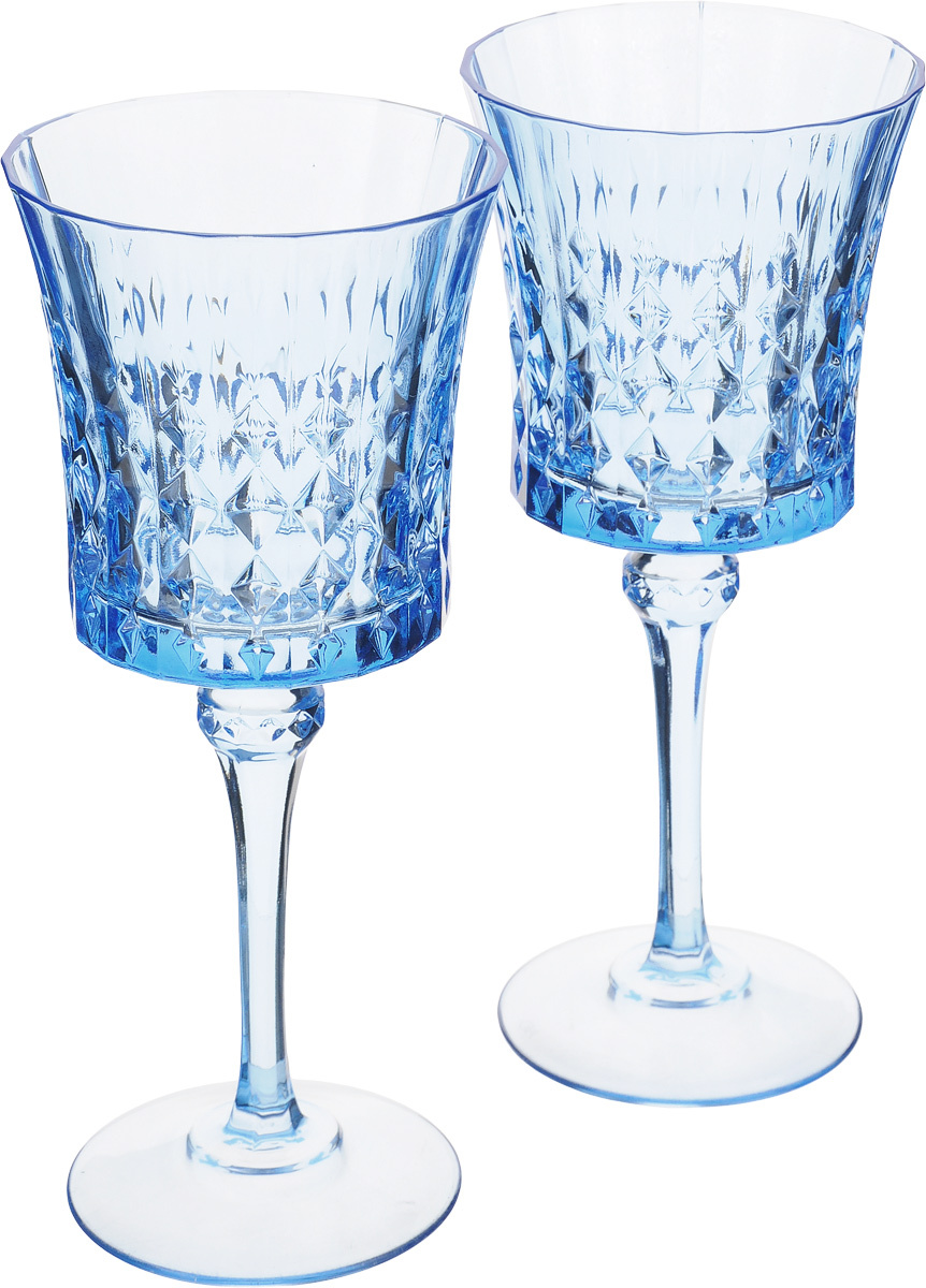 Cristal Darques Lady Diamond.Nabor Bokalov Cristal D Arques Lady Diamond Cvet Goluboj 190 Ml 2 Sht