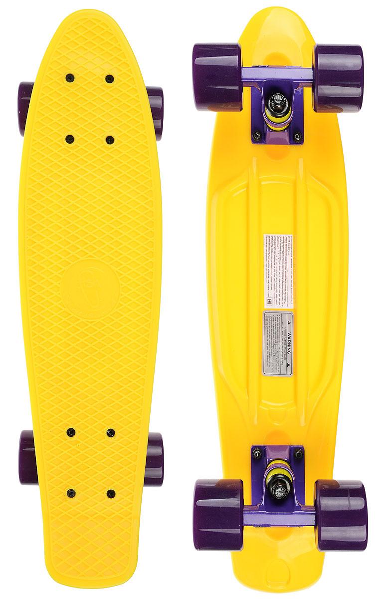 """Скейтборд пластиковый """"Fish"""", цвет: желтый, фиолетовый, дека 56 х 15 см  #1"""