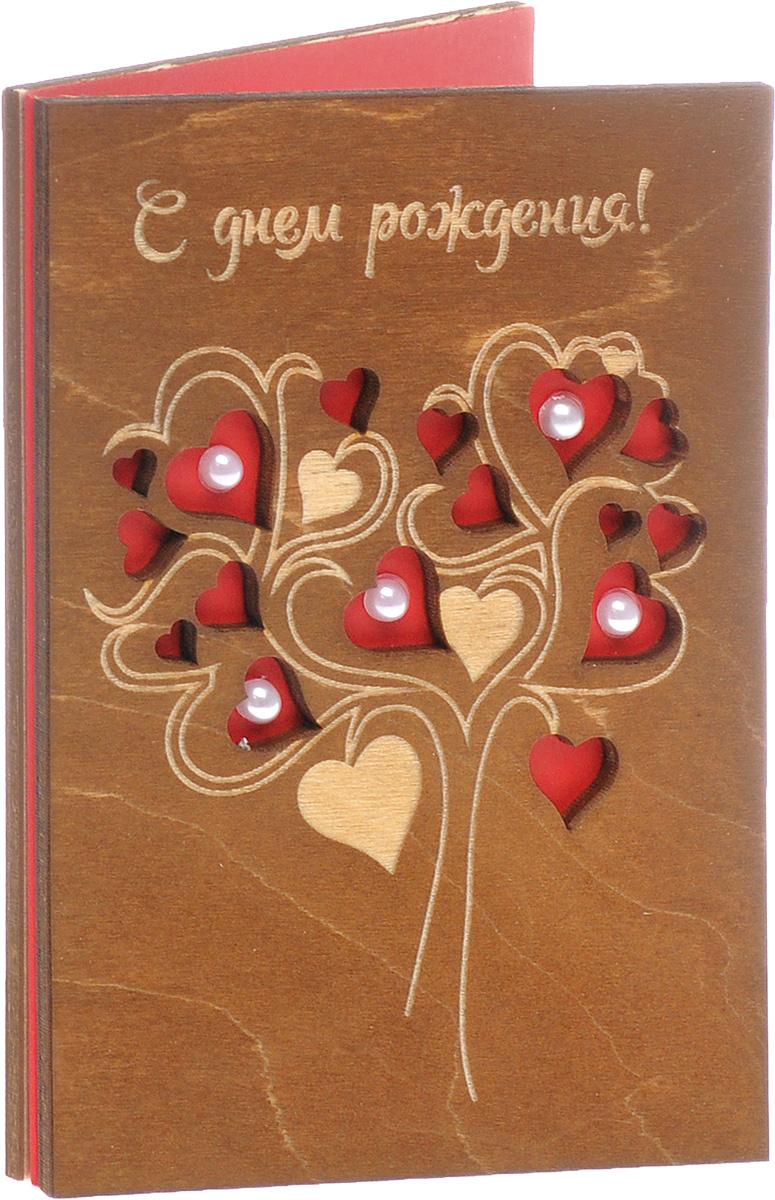 Деревянная открытка ручной работы Optcard С Днем Рождения АРТ 021 W  #1