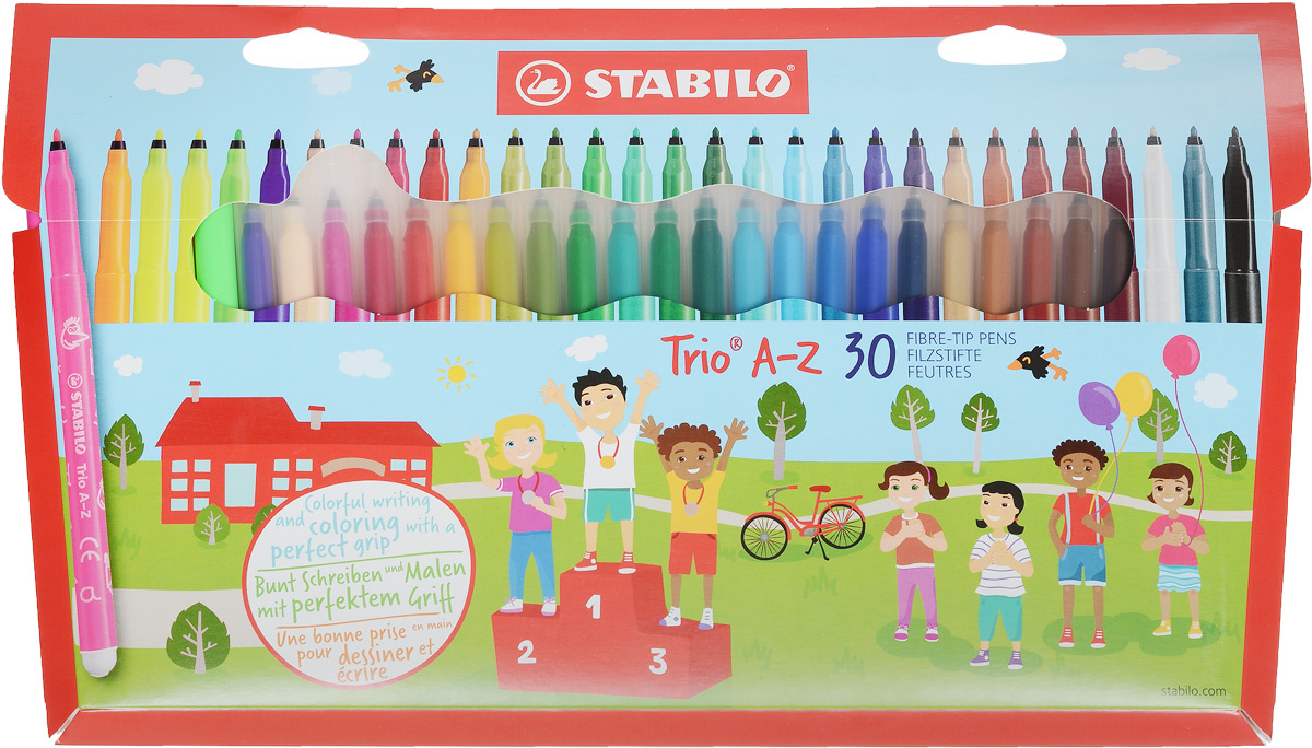 Фломастеры STABILO Trio A-Z, трехгранные. смываемые, 30 цветов #1