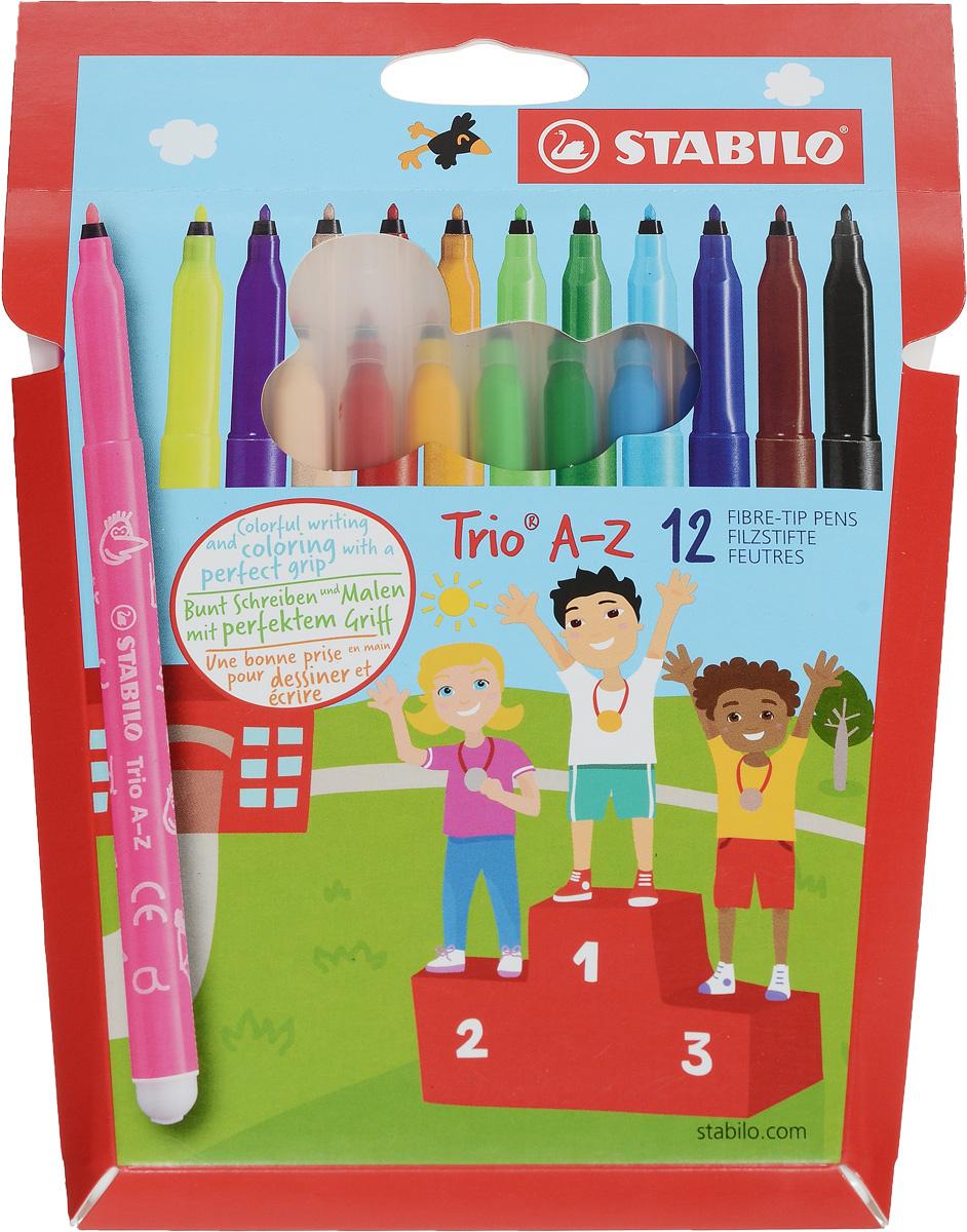 Фломастеры STABILO Trio A-Z, трехгранные, смываемые, 12 цветов #1