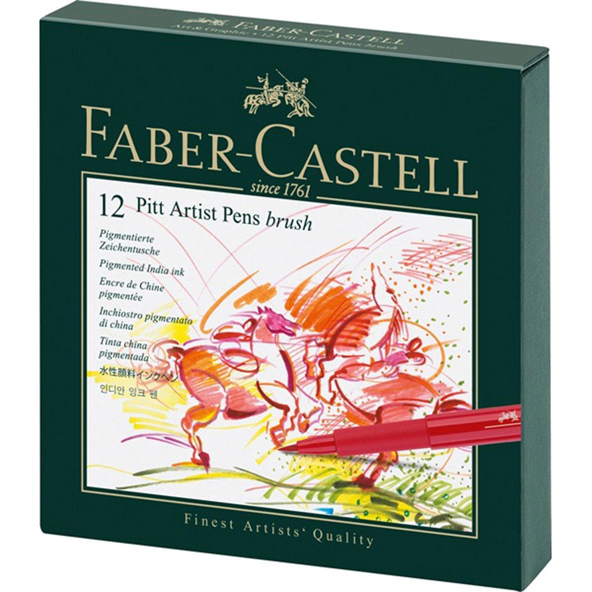 Набор капиллярных ручек Faber-Castell Pitt Artist Pen Brush ассорти, brush, 12 штук в студийной коробке #1
