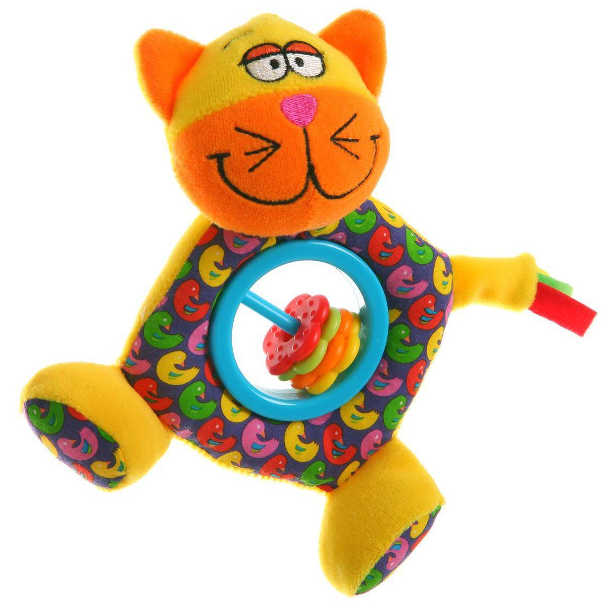 Bondibon Мягкая игрушка-погремушка Кот цвет желтый оранжевый голубой  #1