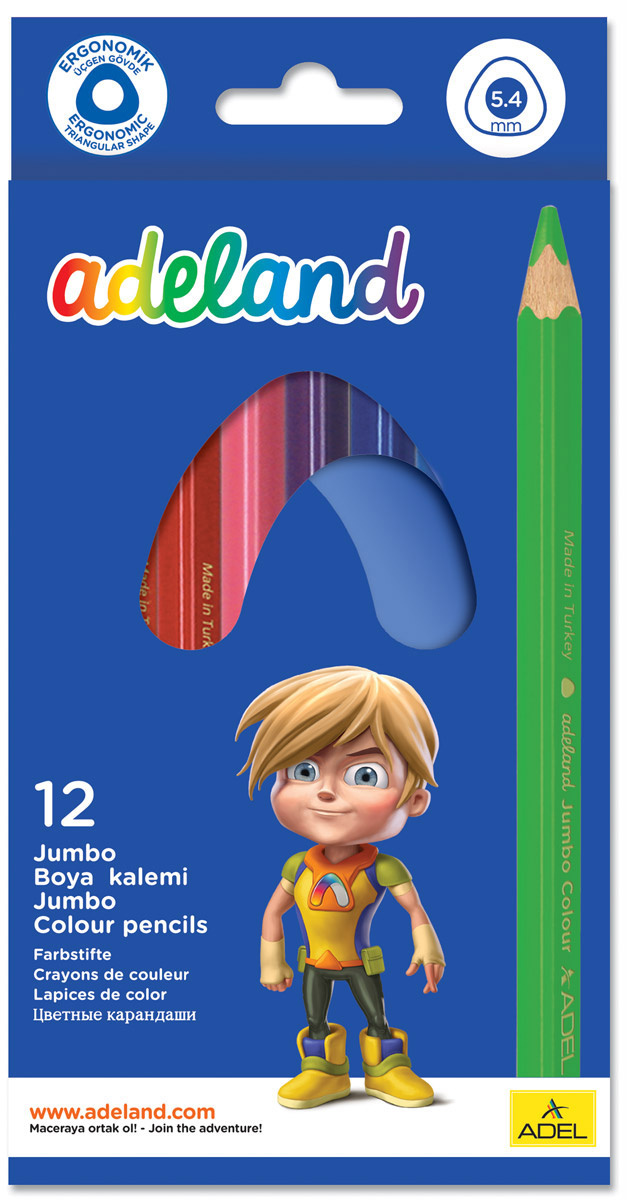 Adel Набор цветных карандашей Adeland Jumbo 12 шт 211-7510-110 #1