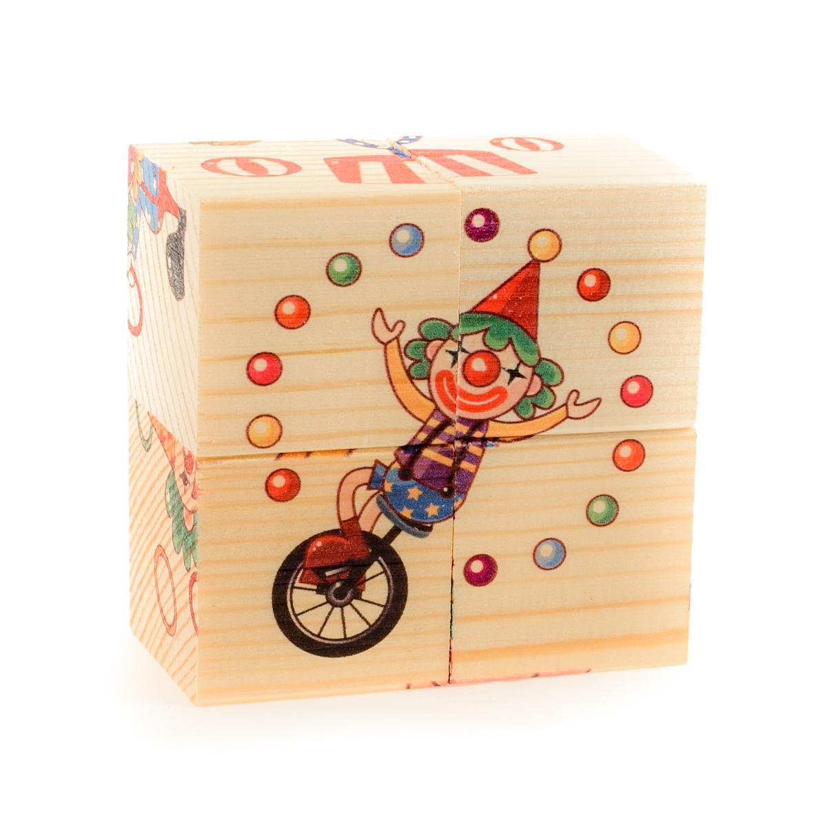 Развивающие деревянные игрушки Кубики Цирк #1