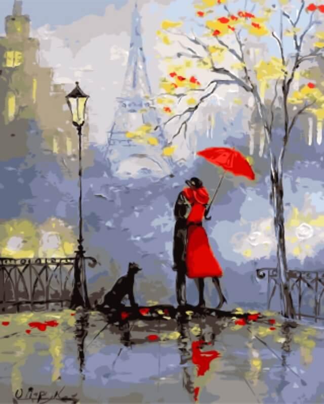"""Набор для рисования по номерам Цветной """"Влюбленные в Париже"""", 40 x 50 см  #1"""