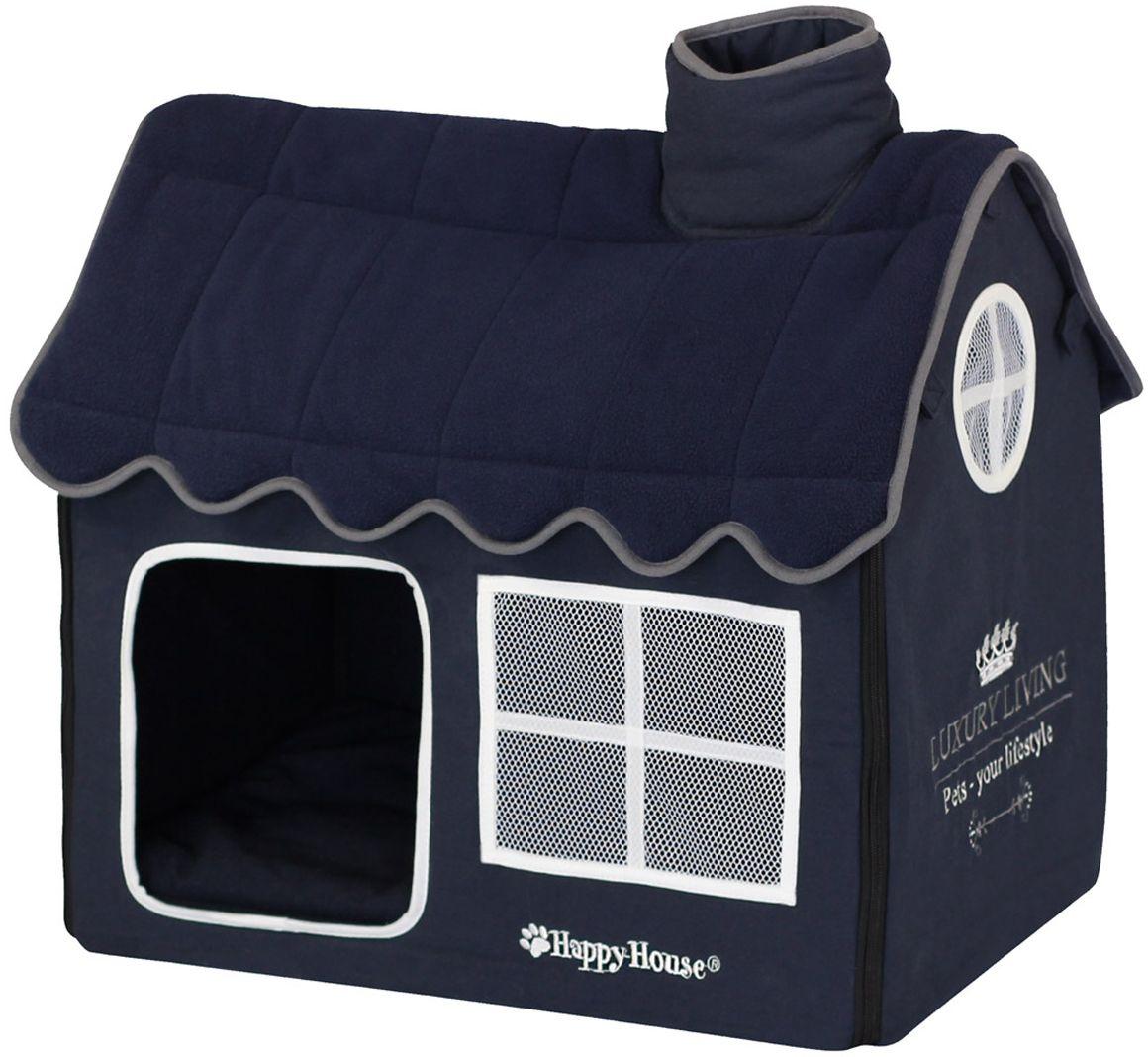 "Домик для домашних животных Happy House ""Luxsury Living"", цвет: темно-синий, 52 х 36 х 49 см  #1"
