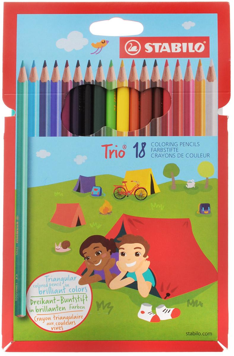 Карандаши цветные STABILO Trio, трехгранные, 18 цветов #1