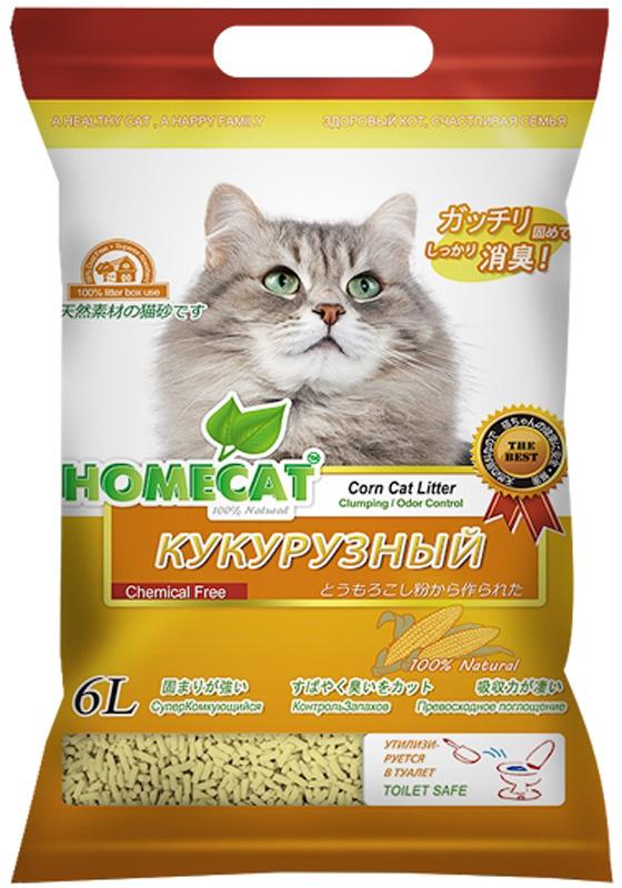 """Наполнитель для кошачьего туалета Homecat """"Эколайн. Кукурузный"""", комкующийся, 6 л  #1"""