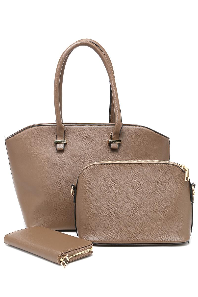 4221189fbb91 Комплект женский DDA: сумка, клатч, кошелек, цвет: коричневый. WB-1014BG —  купить в интернет-магазине OZON.ru с быстрой доставкой