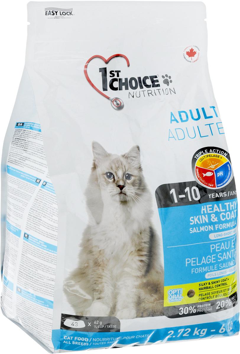 """Корм сухой 1st Choice """"Adult"""" для здоровья шерсти и кожи взрослых кошек, с лососем, 2,72 кг  #1"""