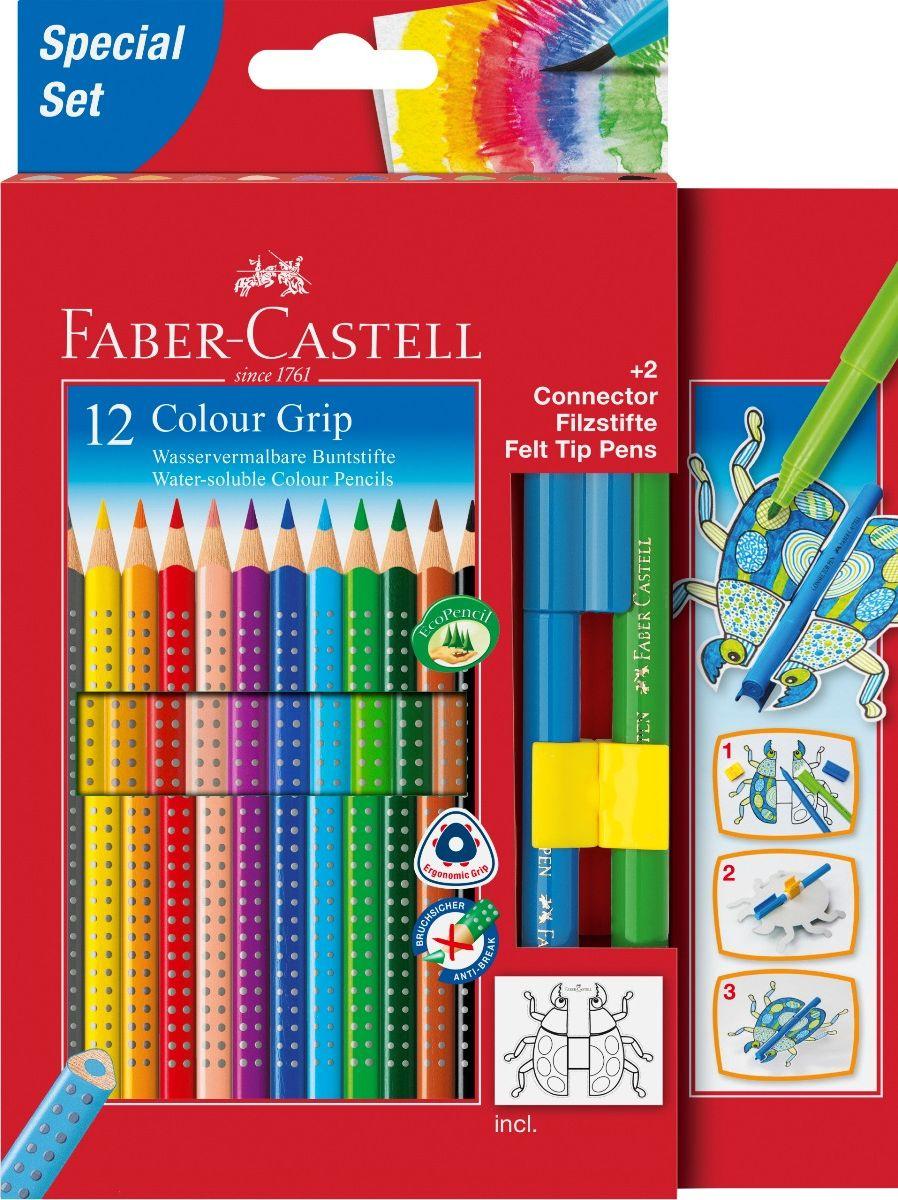 Faber-Castell Набор цветных карандашей Grip 2001 12 цветов + 2 фломастера Connector, цвет фломастеров #1