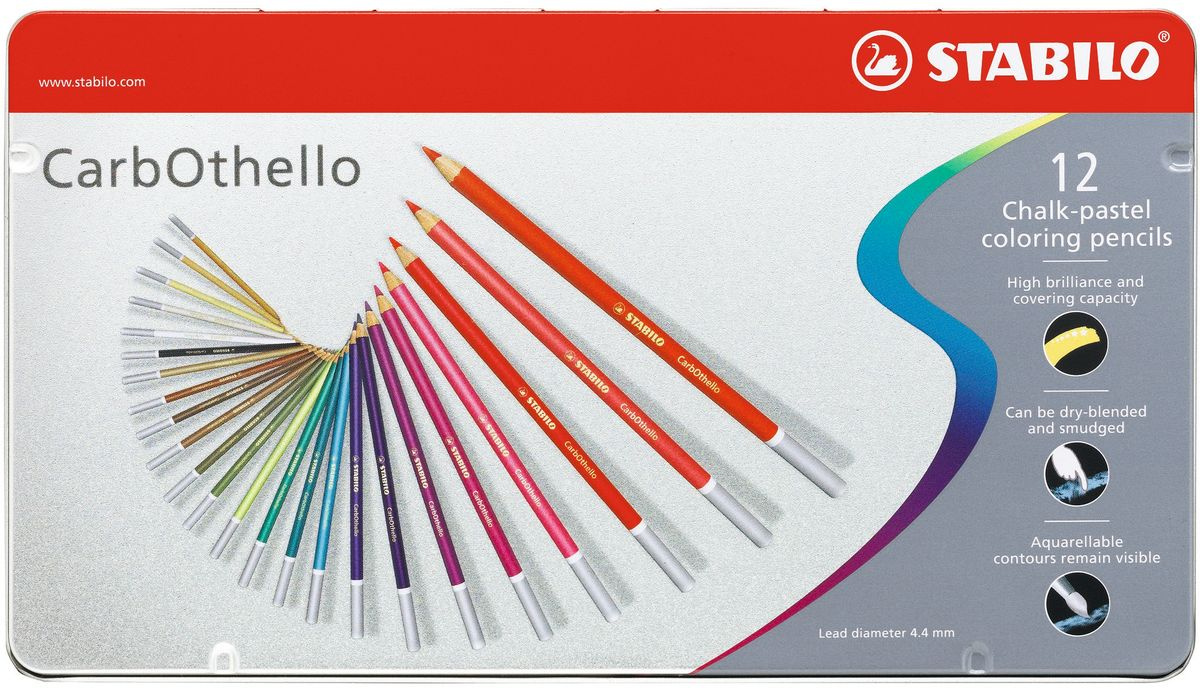 Карандаши цветные пастельные STABILO CarbOthello, художественные, 12 цветов, в металлическом футляре #1