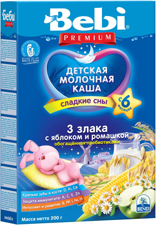 Bebi Премиум каша 3 злака с яблоком и ромашкой с пребиотиками молочная, с 6 месяцев, 200 г  #1