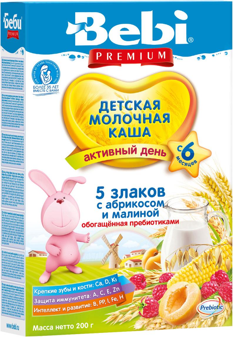 Bebi Премиум каша 5 злаков с абрикосом и малиной молочная, с 6 месяцев, 200г  #1
