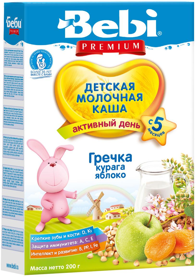 Bebi Премиум каша гречневая, курага яблоко молочная, с 5 месяцев, 200 г  #1