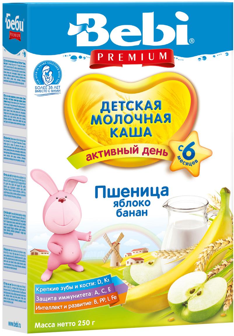 Bebi Премиум каша пшеница, яблоко, банан, молочная, с 6 месяцев, 250 г  #1