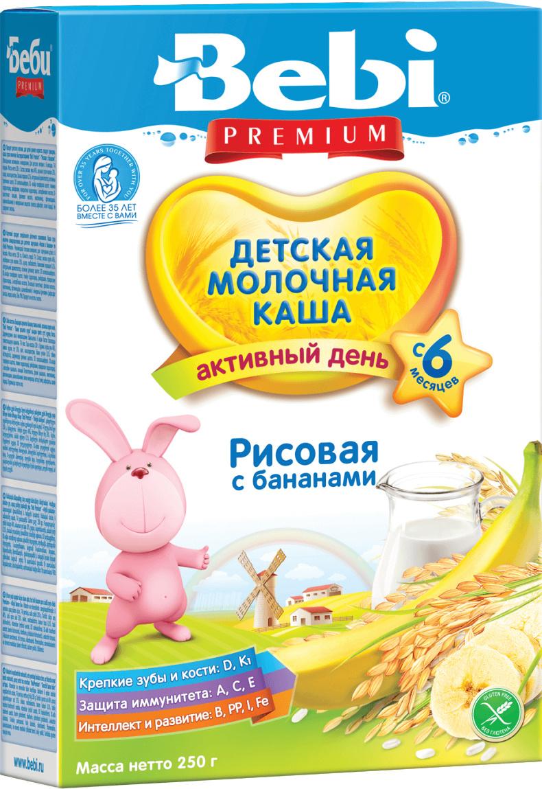 Bebi Премиум каша рисовая с бананами молочная, с 6 месяцев, 250 г  #1