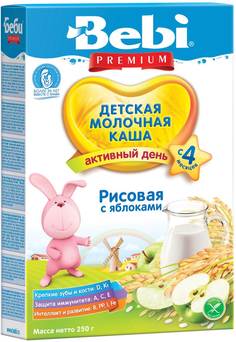 Bebi Премиум каша рисовая с яблоками молочная, с 4 месяцев, 250 г  #1