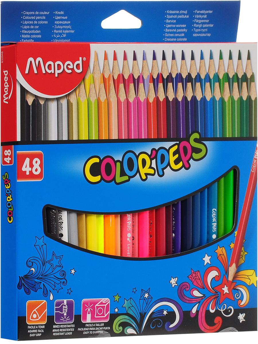 Карандаши цветные Maped Color'pers треугольные, в картонном футляре, 48 цветов  #1
