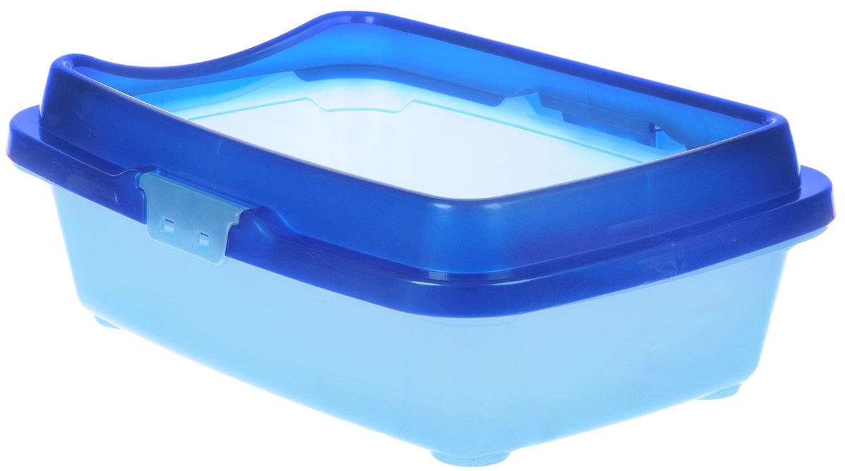"""Туалет для котят DD Style """"Догуш"""", с бортом, цвет: синий, голубой, 26,5 х 36,5 х 12,5 см  #1"""