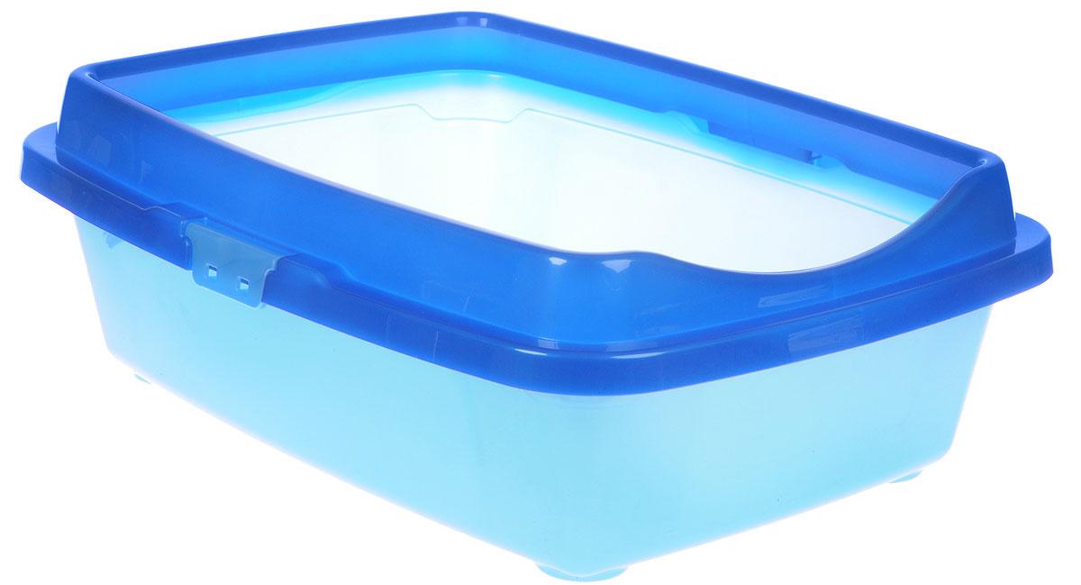 """Туалет для кошек DD Style """"Догуш"""", с бортом, цвет: синий, голубой, 36 х 49,5 х 16,7 см  #1"""