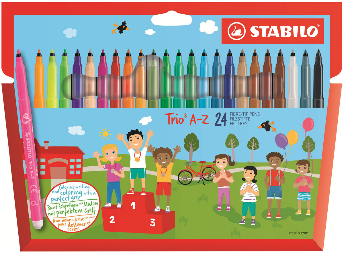 Фломастеры STABILO Trio A-Z, трехгранные, смываемые, 24 цвета #1