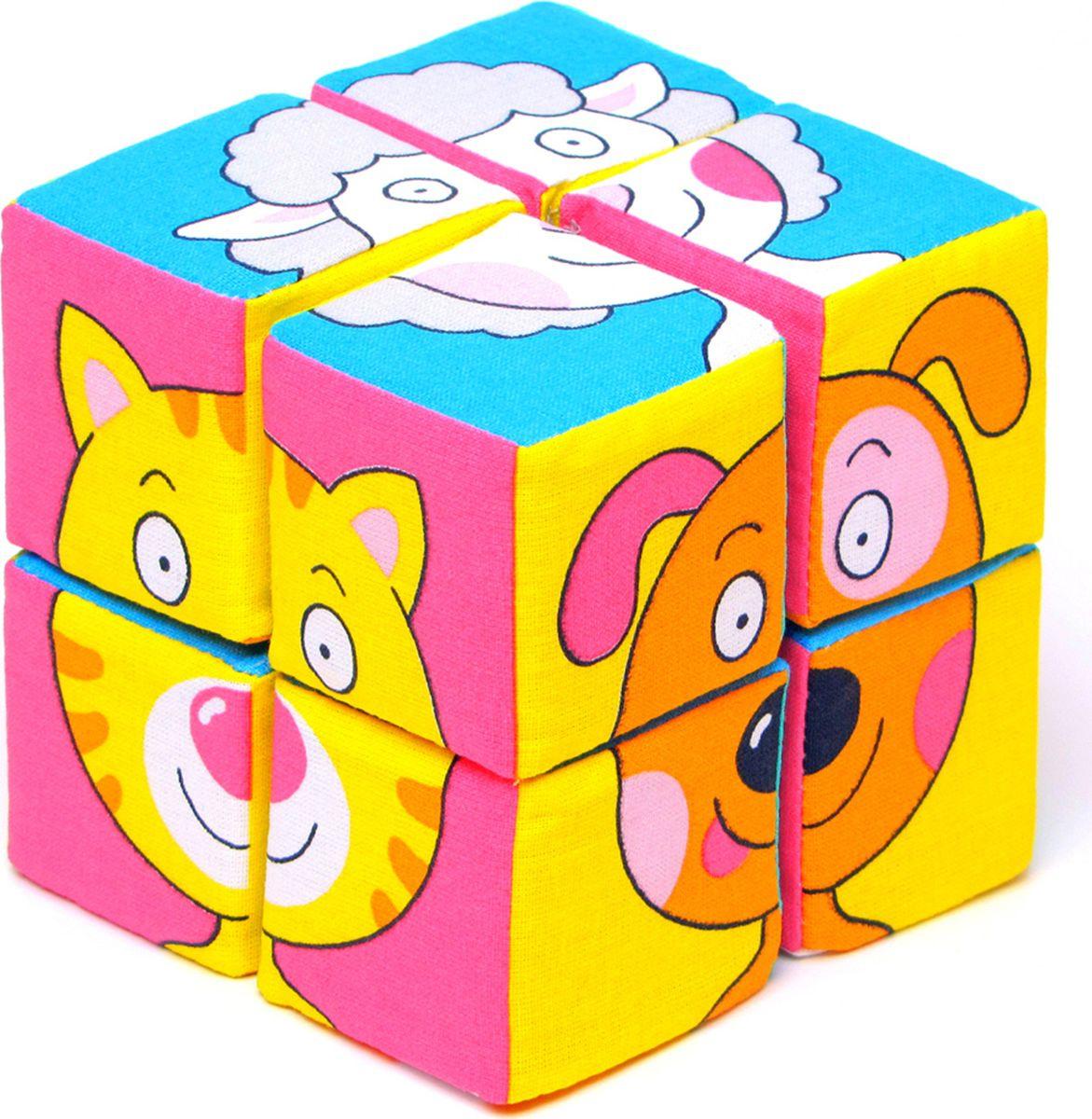 Мякиши мягкие кубики, Собери картинку: Зверята, 8 кубиков  #1