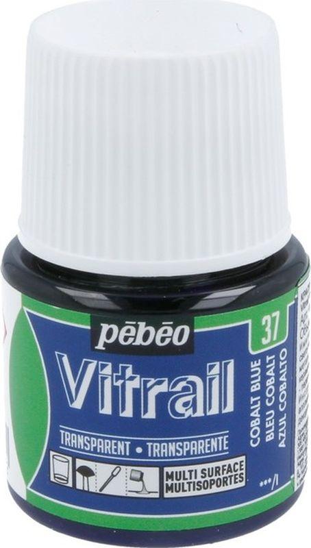 Pebeo Краска для стекла и металла Vitrail лаковая прозрачная цвет 050-037 кобальт синий 45 мл  #1