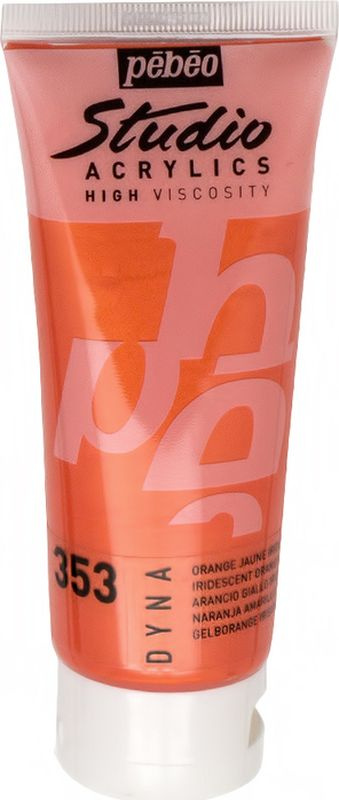 Pebeo Краска акриловая Studio Acrylics Dyna цвет 832-353 оранжево-желтый иридисцентный 100 мл  #1
