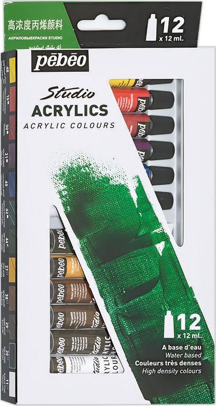 Pebeo Краска акриловая набор Studio Acrylics 12 цветов 668200 12 мл #1