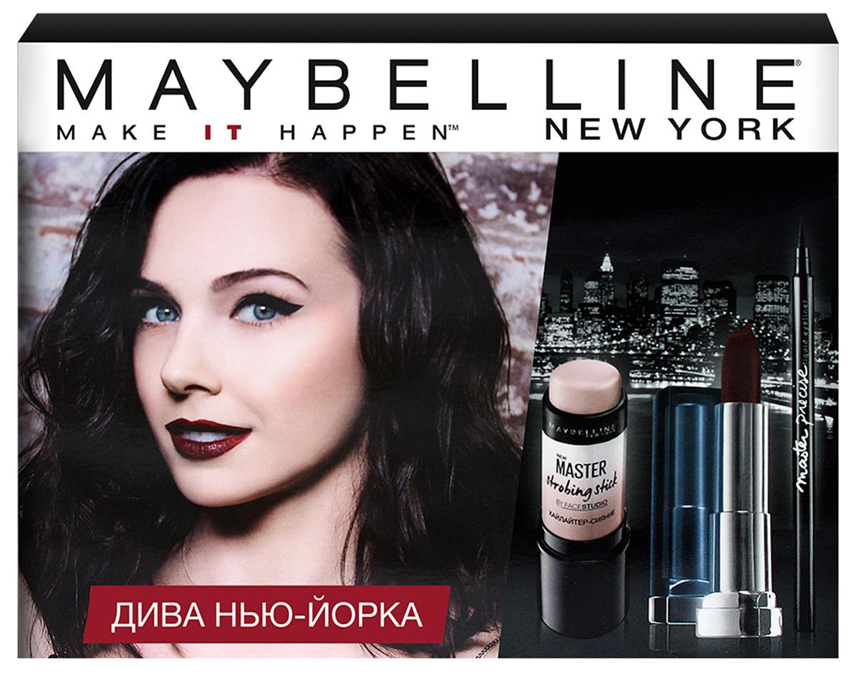 "Maybelline New York Лимитированный набор ""Дива Нью Йорка: хайлайтер-стик Master Strobing 01, лайнер Master #1"